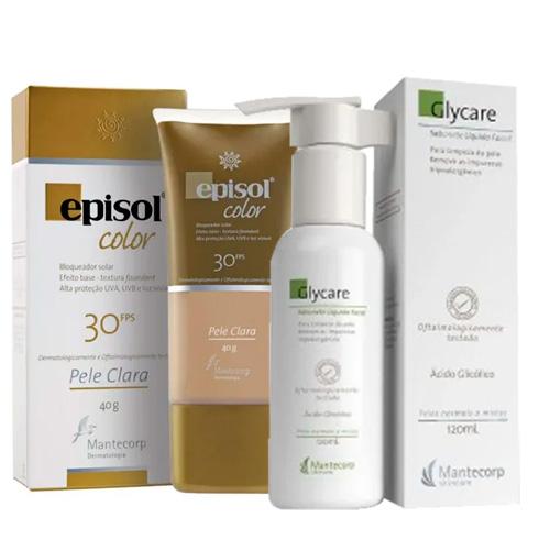 Kit Protetor Solar Episol Color Pele Clara FPS 30 40g + Sabonete Líquido Glycare 120ml