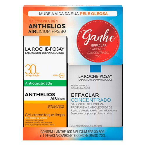Kit Protetor Solar La Roche Posay Anthelios Airlicium Fps30 50g + Sabonete Effaclar 70g