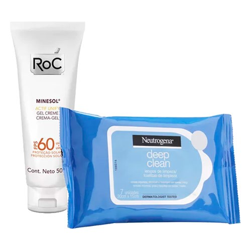 Kit Protetor Solar Roc Minesol Actif Unify Tinted Fluid Light FPS60 50g Ganhe Lenço Demaquilante Neutrogena