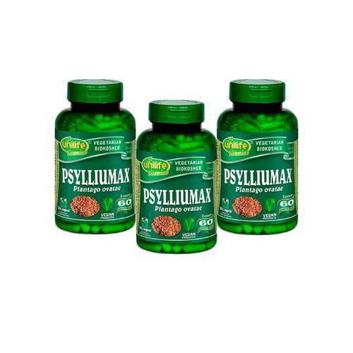 Kit 3 Psylliumax Unilife Psyllium 550mg 60 Cápsulas