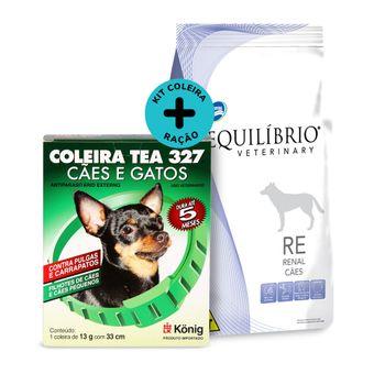 KitRação Equilíbrio Veterinary Renal Cães 2kg+Coleira Contra Pulgas/ Carrapatos TEA Cães Peq.König