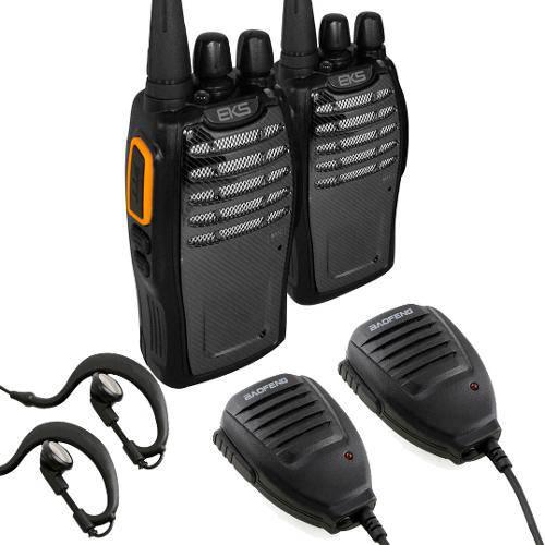 Kit Rádio Comunicador A5 Walkie Talkie + 2 Microfones Ptt + Fones de Ouvido