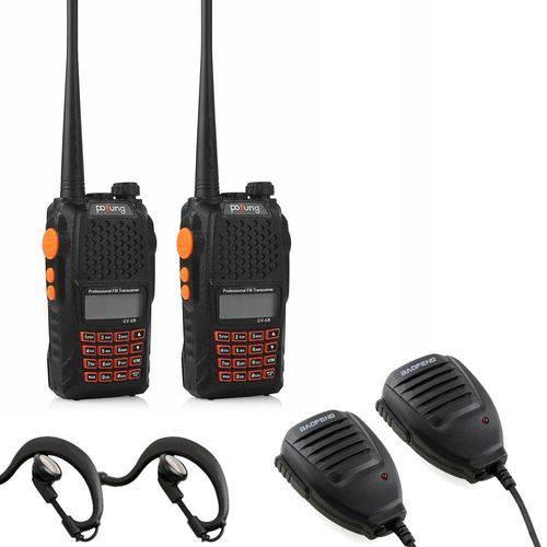 Kit Rádio Comunicador Uv-6R Walkie Talkie + 2 Microfones Ptt + Fones de Ouvido
