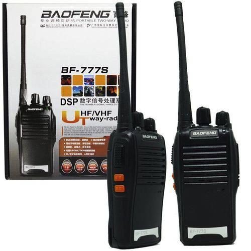 Kit 2 Rádios Comunicador HT Walk Talk UHF 16 Canais Profissional + Fone Baofeng BF-777S Preto Bivolt