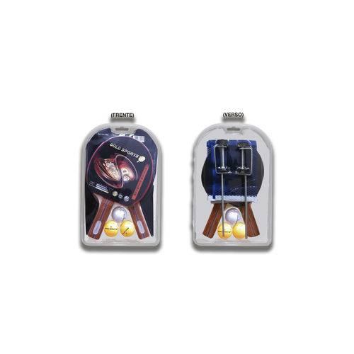Kit 2 Raquetes 3 Bolas Rede e Suporte para Tênis de Mesa Gold Sports Premium