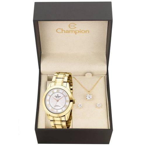 Kit Relógio Champion Dourado Feminino Ch24544w