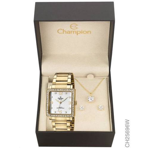 Kit Relógio Champion Dourado Feminino Ch25696w