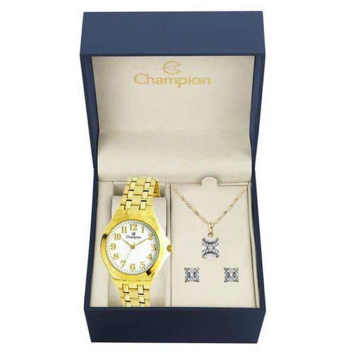 Kit Relógio Champion Feminino Dourado 5 Atm Ch22877w