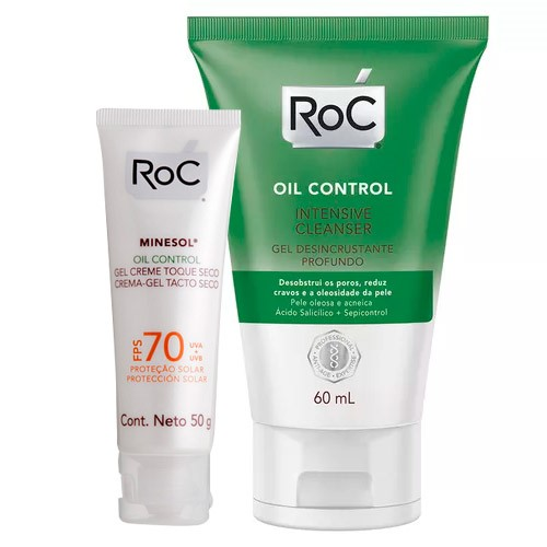 Kit Roc Oil Control Minesol FPS 70 50g Ganhe Gel de Limpeza Facial Intensive Cleanser 60ml