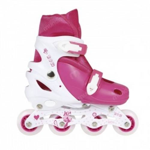 Kit Roller Rosa Infantil Joelheira Cotoveleira Regulavel do 35 ao 38