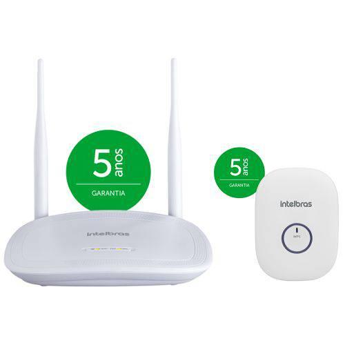 Kit Roteador + Repetidor de Sinal Wireless Wi-Fi 300 Mpbs IWR 3000 N Intelbras