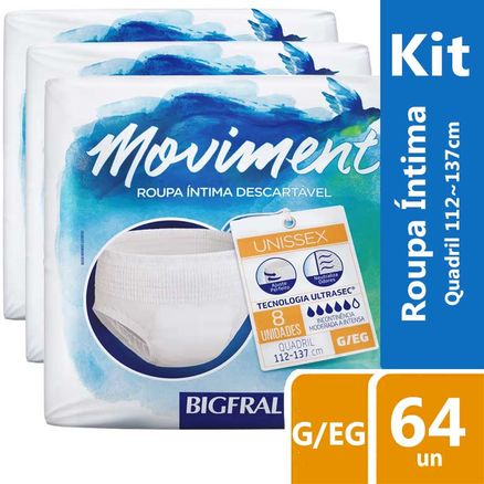 Kit Roupa Íntima Descartável Bigfral Moviment G/EG 64 Unidades