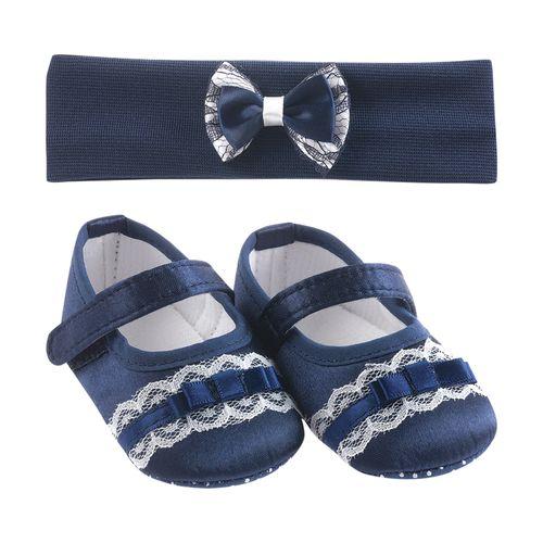 Kit Sapato e Tiara Azul Marinho com Renda - 1