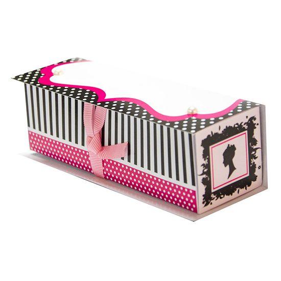 Kit Scrap Festa Caixa Retangular Pink e Preto KSF016 com 10 Unidades - Toke e Crie By Ivy Larrea