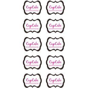 Kit Scrap Festa Pink e Preto Rótulos Cupcake C/5 Cart C/10 Un Ref.14292-Ksf040 Toke e Crie