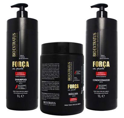 Kit Shampoo Condicionador 1L Máscara 1Kg Força com Pimenta - Bio Extratus