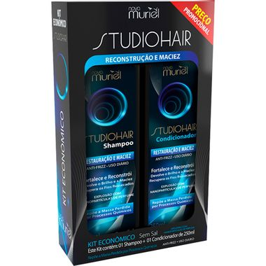 Kit Shampoo + Condicionador Studio Hair Restauração e Maciez Muriel 250ml Kit Shampoo + Condicionador Studio Hair Reconstrução e Maciez Muriel 250ml