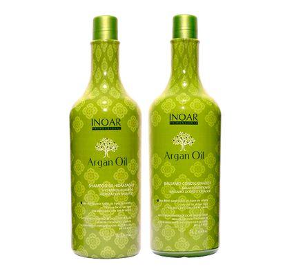 Kit Shampoo de Hidratação e Bálsamo Condicionador Argan Oil 1 Litro - Inoar