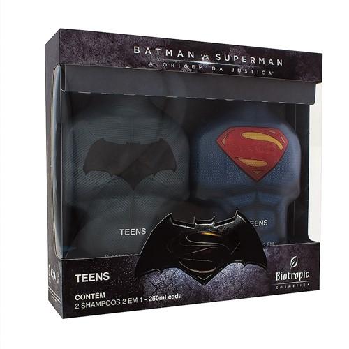 Kit Shampoo 2 em 1 Infantil Batman X Superman com 2 Unidades 250ml Cada