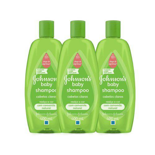 KIT 3 Shampoos Johnson's Baby Cabelos Claros 400ml