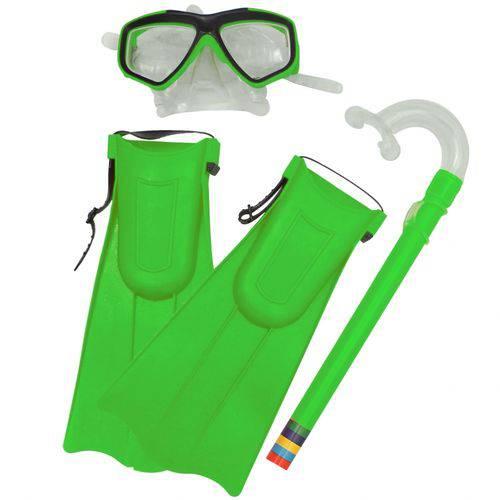 Kit Snorkel Belfix Verde com Máscara e Nadadeiras