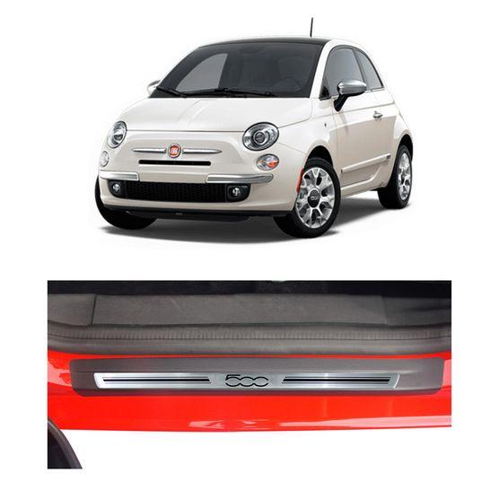 Kit Soleira Fiat 500 Premium Aço Escovado Resinado 2010 a 2015 2 Portas