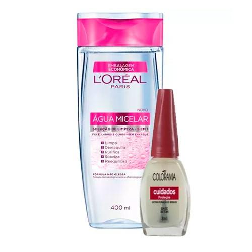 Kit Solução de Limpeza Facial L'Oréal 400ml Ganhe Esmalte Colorama Base Setim 8ml