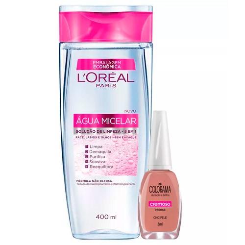 Kit Solução de Limpeza Facial L'Oréal 400ml Ganhe Esmalte Colorama Chic Pele 8ml