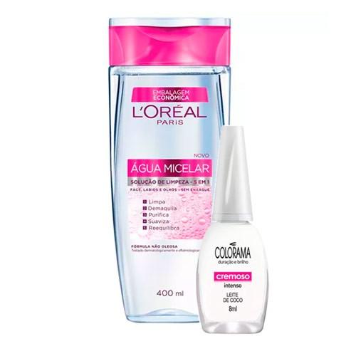 Kit Solução de Limpeza Facial L'Oréal 400ml Ganhe Esmalte Colorama Leite de Côco 8ml