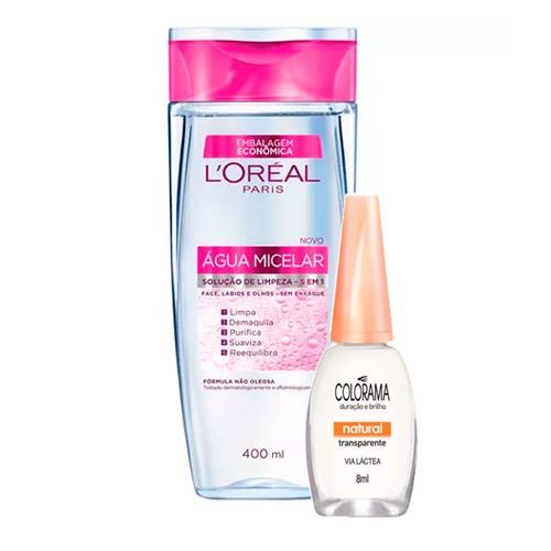 Kit Solução de Limpeza Facial L'Oréal 400ml Ganhe Esmalte Colorama Natural Transparente 8ml