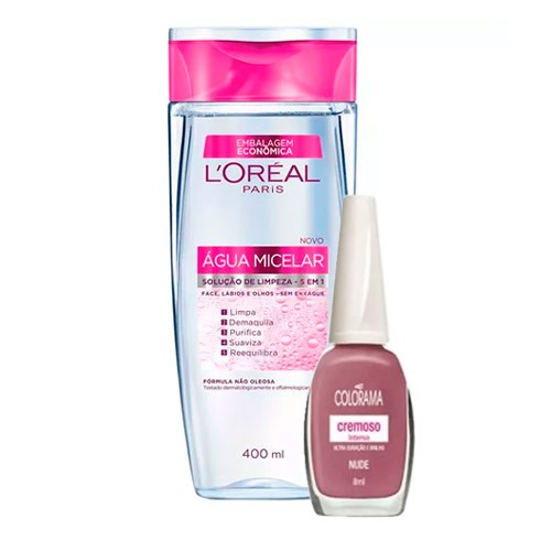 Kit Solução de Limpeza Facial L'Oréal 400ml Ganhe Esmalte Colorama Nude 8ml
