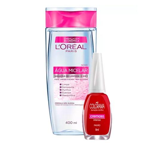 Kit Solução de Limpeza Facial L'Oréal 400ml Ganhe Esmalte Colorama Paixão - 8ml