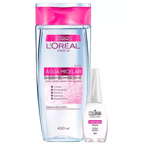 Kit Solução de Limpeza Facial L'Oréal 400ml Ganhe Esmalte Colorama Pétala Branca 8ml