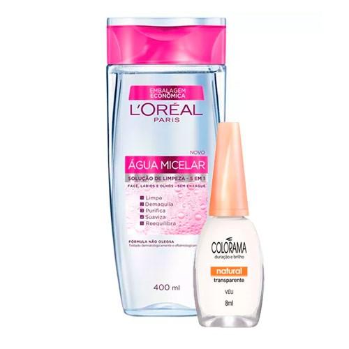 Kit Solução de Limpeza Facial L'Oréal 400ml Ganhe Esmalte Colorama Transparente Véu 8ml