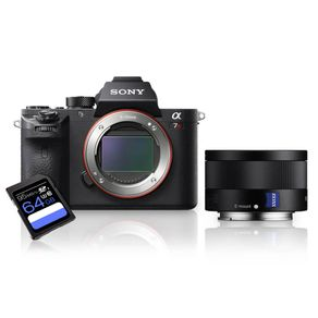 Kit Sony A7R II Mirrorless + Lente Sony FE 35mm ZA (SEL35F28Z) + Cartão SDXC 64Gb