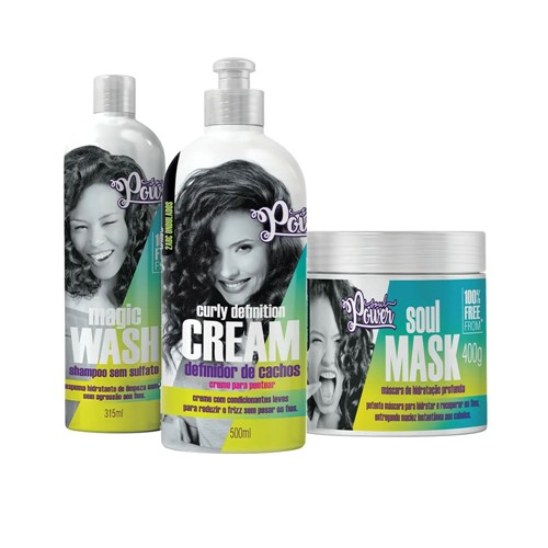 Kit Soul Power Creme de Pentear Curly Creme de Pentear + Máscara Grátis Shampoo Magic Wash 315ml