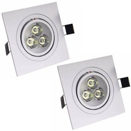 Kit 2 Spot Quadrado Led 12w Lampada Direcionavel Sanca Gesso