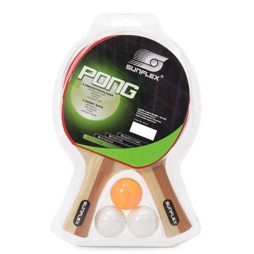 Kit Sunflex Tênis de Mesa Pong com 02 Raquetes e 03 Bolinhas