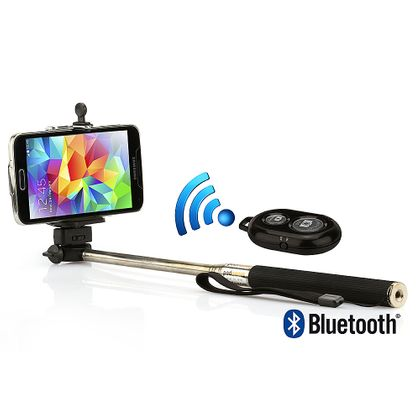 Kit Suporte para Selfie, Monopod + Controle Shutter Bluetooth, Preto