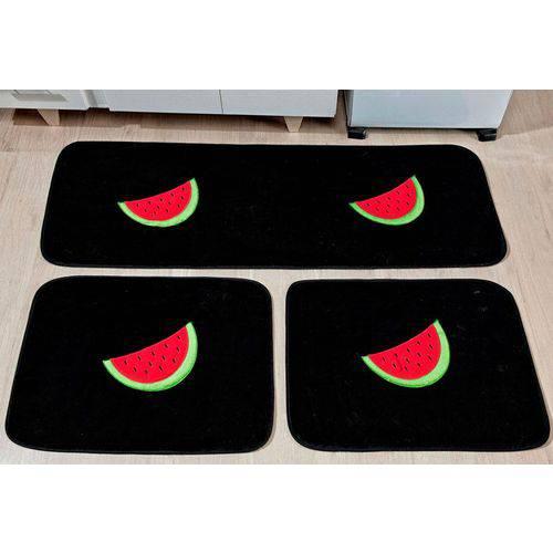 Kit Tapetes de Cozinha Bordado Antiderrapante Melancia 3 Peças - Preto