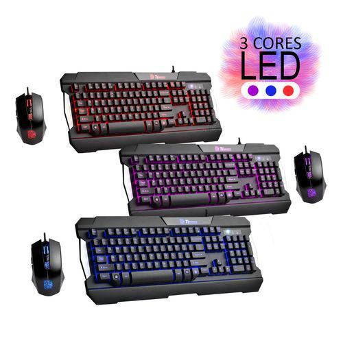 Kit Teclado e Mouse Gamer Thermaltake Commander Multi Light Led Vermelho Roxo Azul