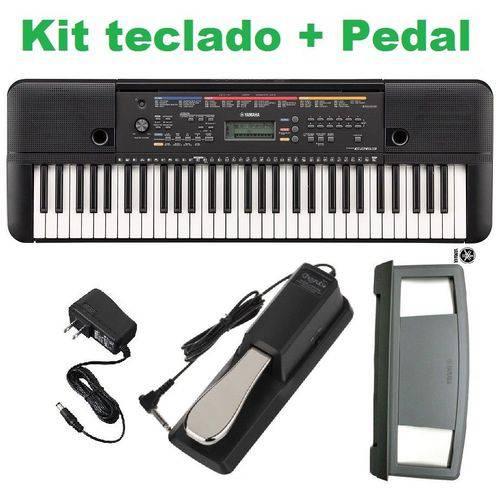 Kit Teclado Musical Psr 263 Yamaha + Fonte + Pedal Sustain + Suporte Partitura