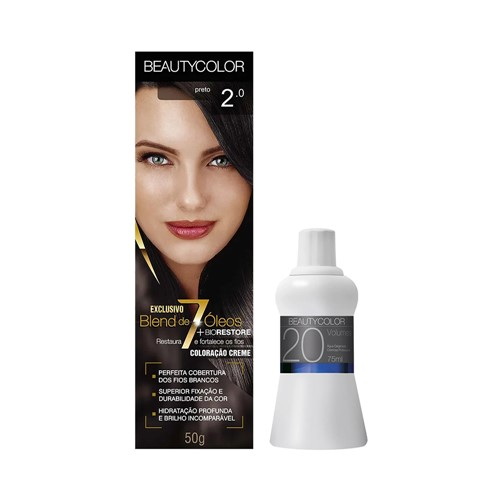 Kit Tinta Beauty Color 2.0 Preto Grátis Água Oxigenada Cremosa 20 Volumes 67ml