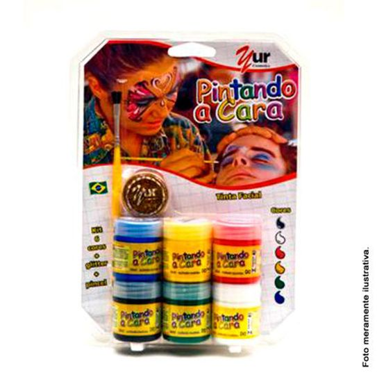 Kit Tinta Liquida 6 Cores de 15 Ml com Pincel e Pote Glitter - Color Make