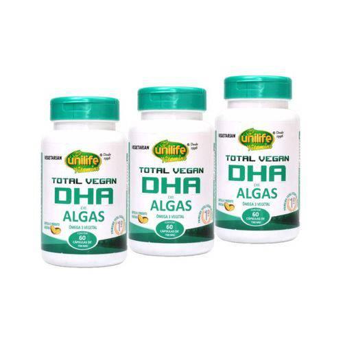 Kit 3 Total Vegan DHA Ômega 3 de Algas Unilife 60 Cápsulas