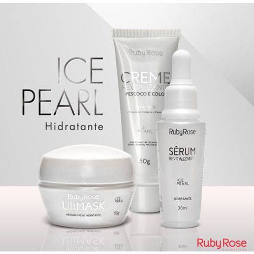 Kit Tratamento Facial Hidratação Ice Pearl Ruby Rose - Sérum + Máscara + Creme