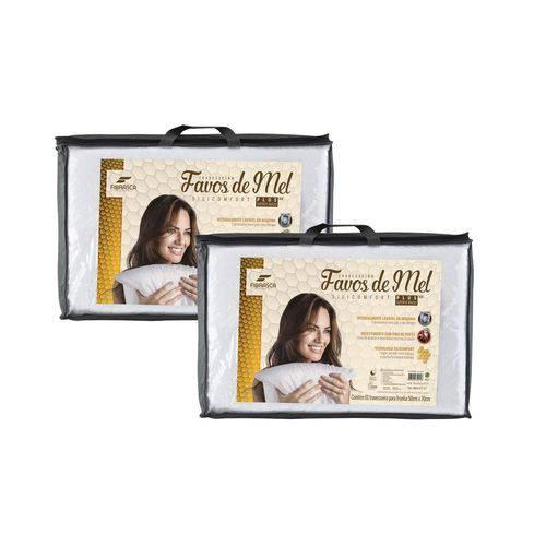 Kit 2 Travesseiros Alto Favos de Mel Lavável para Dormir 50x70cm Fibrasca 4945