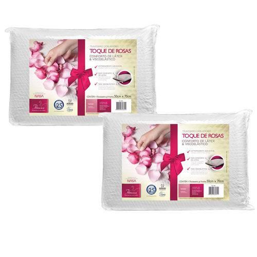 Kit 2 Travesseiros Toque de Rosas Dois Amores para Fronhas 50x70 - Fibrasca