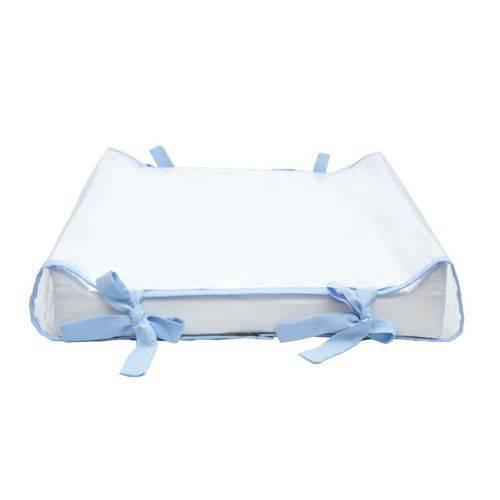 Kit Trocador Americano Branco/azul Bebê + Almofada Amamentação Combinando