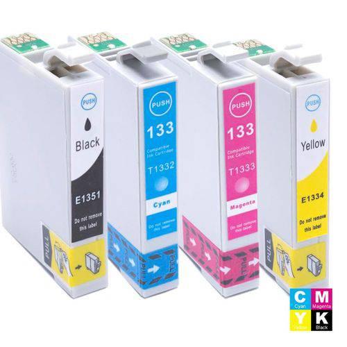 Kit Tx125 Cartucho Epson To1351 Preto, To1332 Ciano, To1333 Magenta e To1334 Amarelo Compatível
